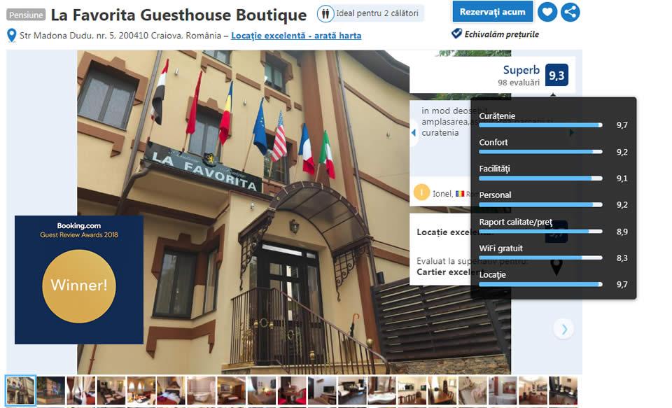 Booking award 2018 La Favorita hotel - winner - hotel centru Craiova